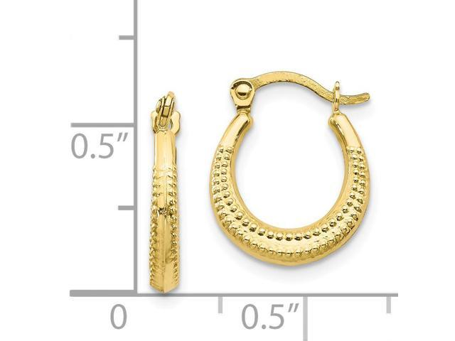 9cc935f0108f7 10k Yellow Gold Scalloped Textured Hollow Hoop Earrings (0.5IN x 0.4IN) -  Newegg.com
