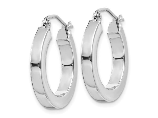 14k White Gold Square Hoop Earrings 20mm Diameter Newegg