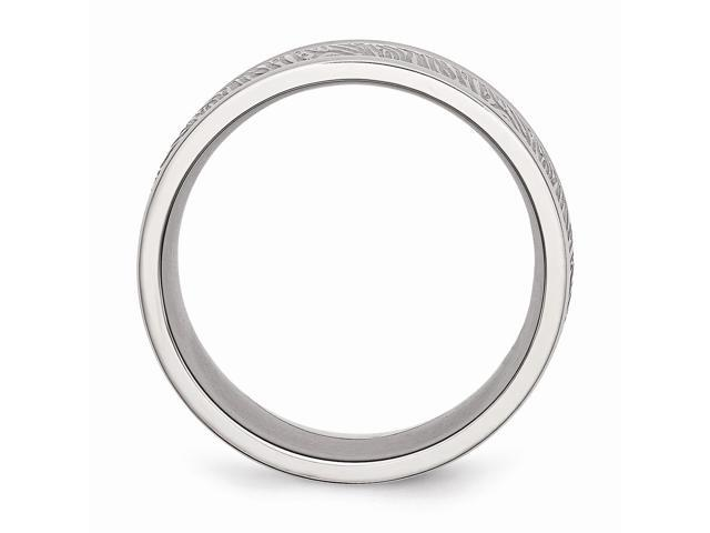 Stainless Steel Polished Textured Rounded Edge Ring