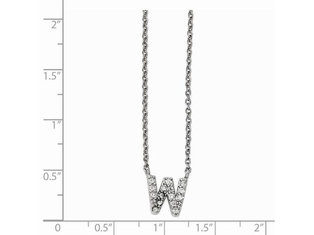 18 Cheryl M CZ Rhodium Plated Sterling Silver Necklace