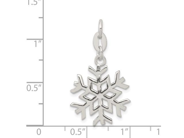 18mm x 30mm Solid 925 Sterling Silver Polished Snowflake Pendant Charm
