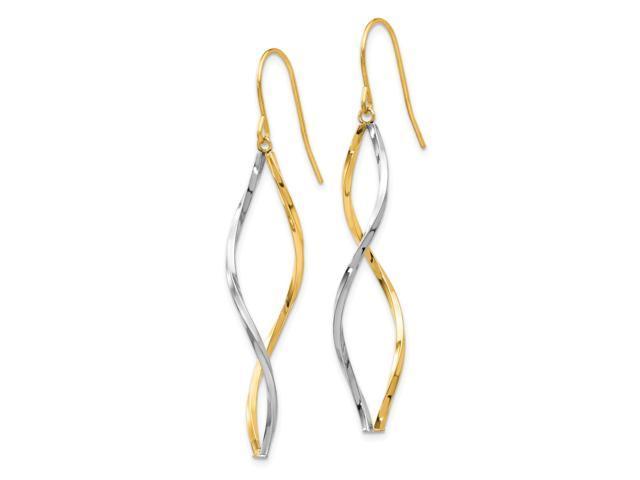 14k Two Tone Gold Twist Dangle Earrings 1.7IN x 0.4IN