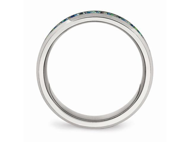Bridal Stainless Steel Polished with Blue Imitiation Opal 8mm Mens Ring
