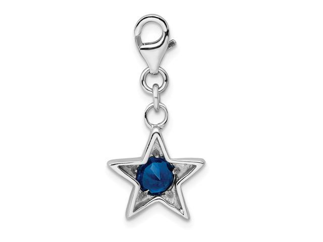 Sterling Silver November Synthetic CZ Birth month Star Charm 1.2IN long x 0.5IN wide