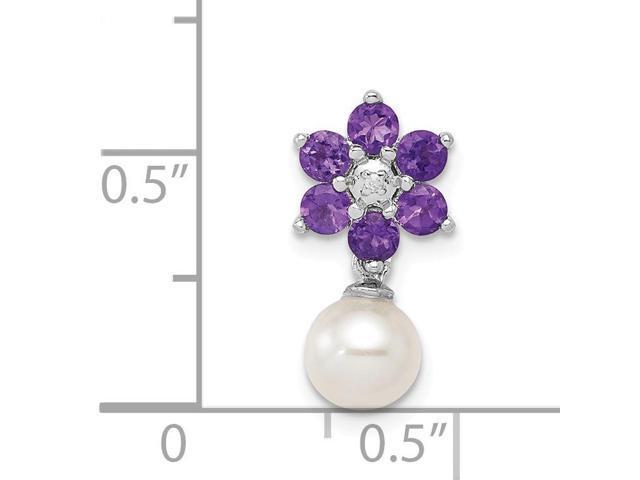 925 Silver Rhodium-plated Freshwater Cultured Pearl /& Diamond Pendant
