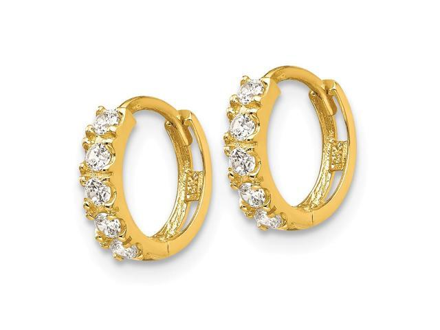 14k Yellow Gold Madi K Synthetic Cz Circle Post Earrings