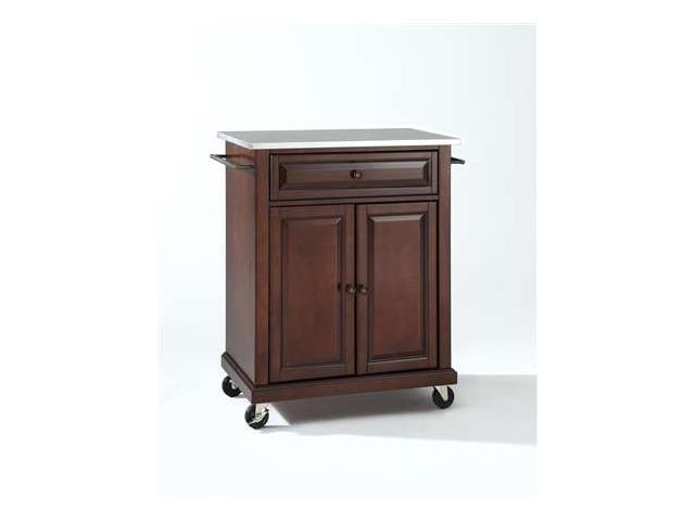 Crosley Stainless Steel Top Portable Kitchen Cart/Island in Vintage Mahogany