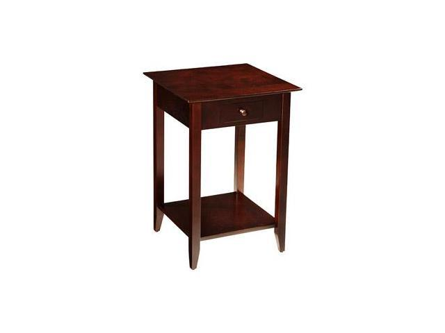 American Heritage End Table With Drawer And Shelf Espresso Finish