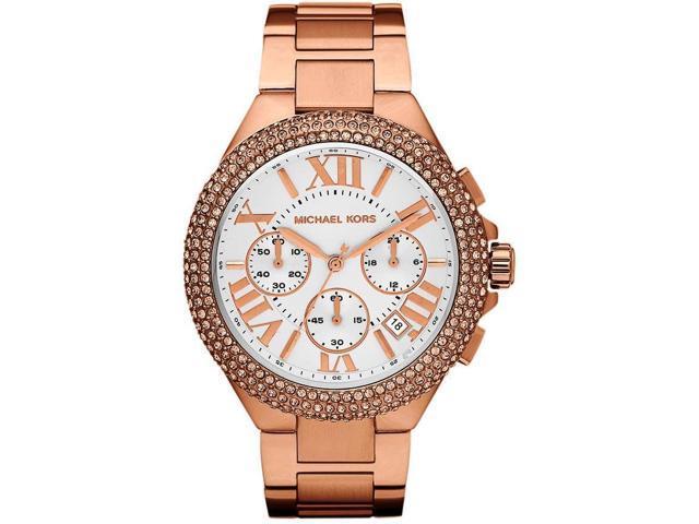 09594ab2ec7c Michael Kors Camille Chronograph Rose Gold Crystal Womens Watch MK5636