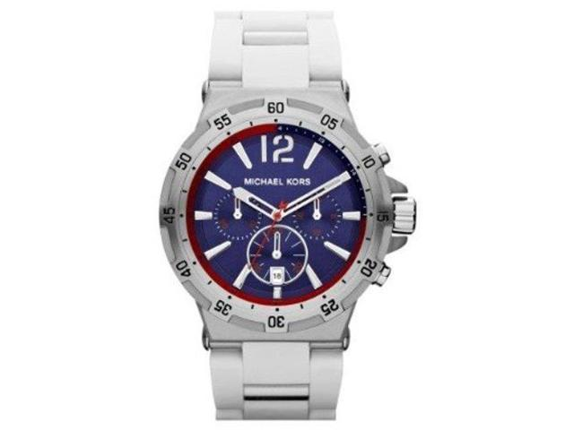 80222634f099 Michael Kors Melbourne Blue Dial White Rubber Mens Watch MK8297 ...
