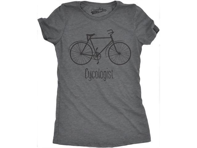 1ca6668e28154 Womens Cycologist Funny Psychology Biking Cyclist Pun Biker Tee T shirt  (Grey) M
