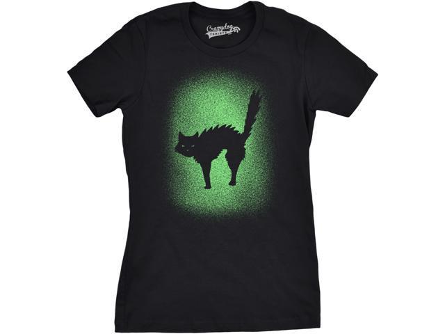 d6d62189 Womens Glowing Cat Glow In The Dark Cool Halloween T Shirt Funny Kitty Tee  (black