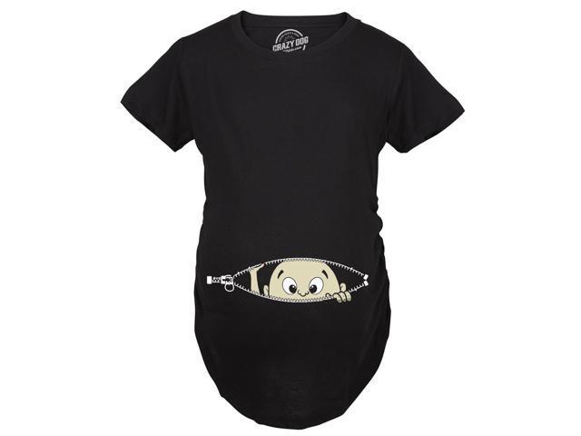 b64221751db74 Maternity Baby Peeking Shirt Funny Pregnancy Cute Announcement Pregnant T  shirts (Black) L