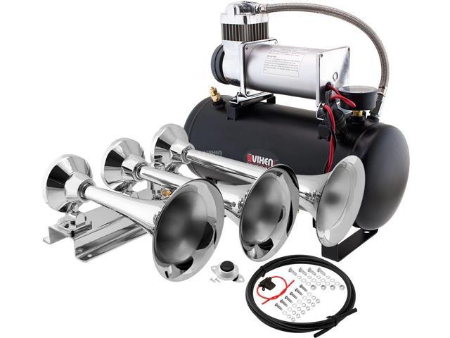 3 Trumpets Vixen Horns Train Horn Kit for Trucks//Car//Semi Complete Onboard System- 150psi Air Compressor Fits Vehicles Like Pickup//Jeep//RV//SUV 12v VXO8210//3311B Super Loud dB 1 Gallon Tank