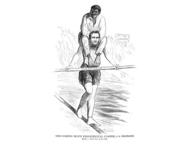 Presidential Campaign 1860 American Newspaper Cartoon Comparing Abraham  Lincoln To Charles Blondin The French Acrobat Who Crossed Niagara Falls On  A
