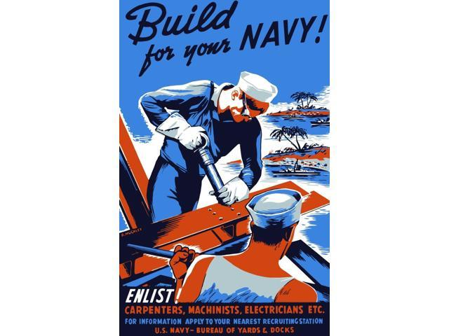 Vintage World War II poster showing two sailors building a ship Poster  Print (10 x 17) - Newegg com