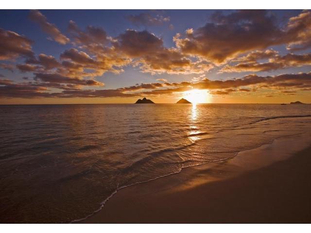 Usa Hawaii Oahu Lanikai Beach With Mokulua Island In Background At Sunrise Lanikai Poster Print 17 X 11