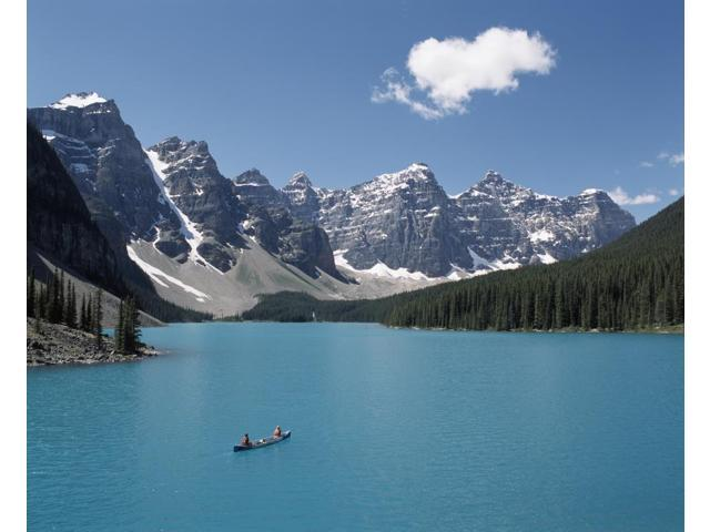 Canoeing On Moraine Lake Banff National Park Alberta Canada Poster Print 17 X 13