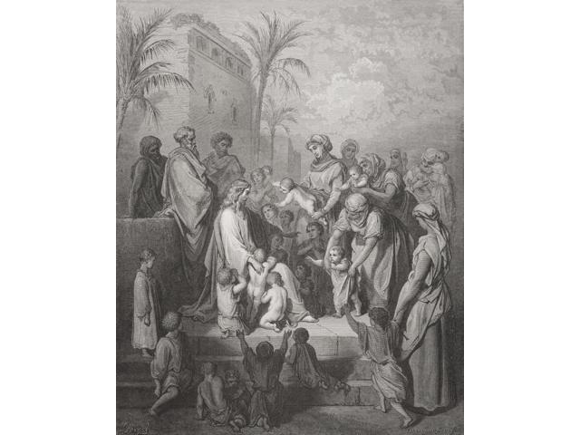 Engraving From The Dore Bible Illustrating Mark X 13 To 16 Jesus