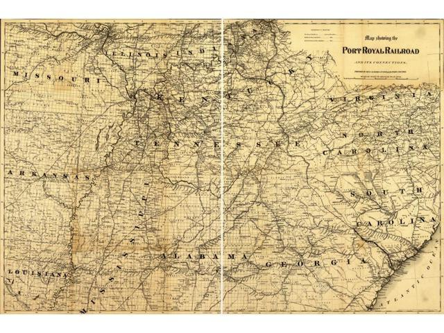 southeastern United States showing drainage cities and towns township and  county boundaries and the railroad network In 1871 the line was in progress  ...