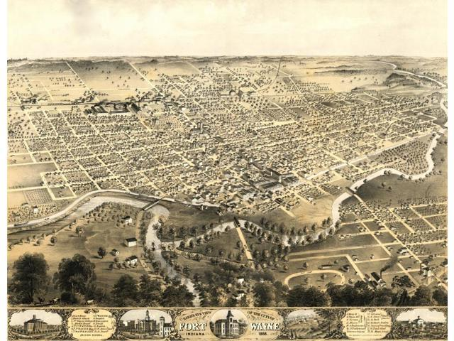 Birds eye view of the city of Fort Wayne Indiana 1868 Poster Print (18 x  24) - Newegg com