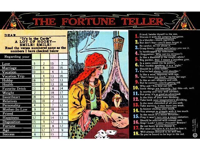 A palm reading gypsy centers this fortune telling postcard The sender would  select numbers and the receiver would read the rhyming fortune on the side