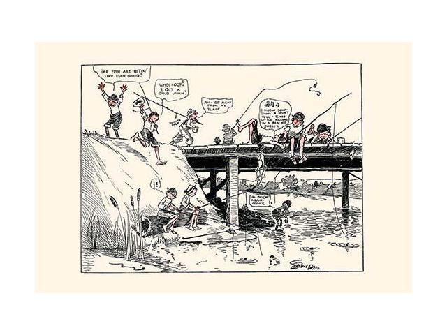 A Cartoon Of Children With Fishing Rods Relaxing On A Bridge And Trying To Catch Fish The Cartoon Was Drawn By Clare Briggs For The Book Oh Skin Nay The Days Of Real