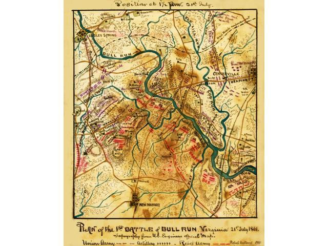 Plan of the 1st Battle of Bull Run Virginia 21st July 1861 Topography from  US Engineers official map Plan of the 1st Battle of Bull Run Virginia 21st  ...