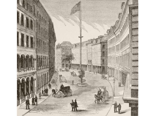 Franklin Street Boston Massachusetts Usa In The 1870s From A 19Th ...