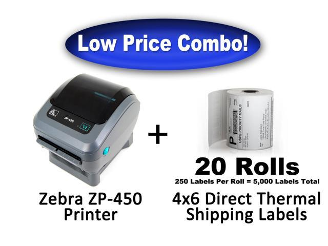 Zebra ZP450 Thermal Label Printer 5,000 4x6 Direct Thermal Labels Brand New