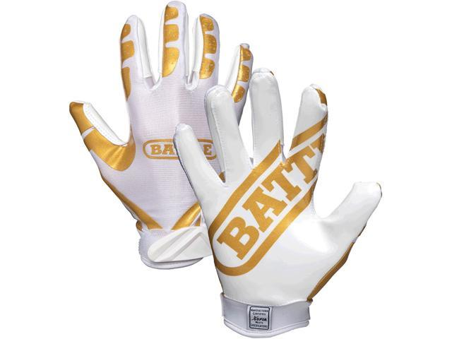 new arrival cbd38 cb741 Battle Sports Receivers Youth Ultra-Stick Football Gloves - YS - White/Gold  - Newegg.com