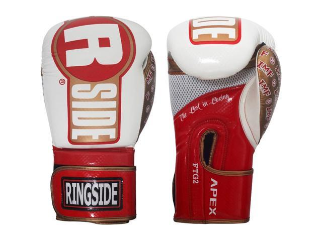 White//Black Ringside Apex Flash Hook and Loop Sparring Boxing Gloves