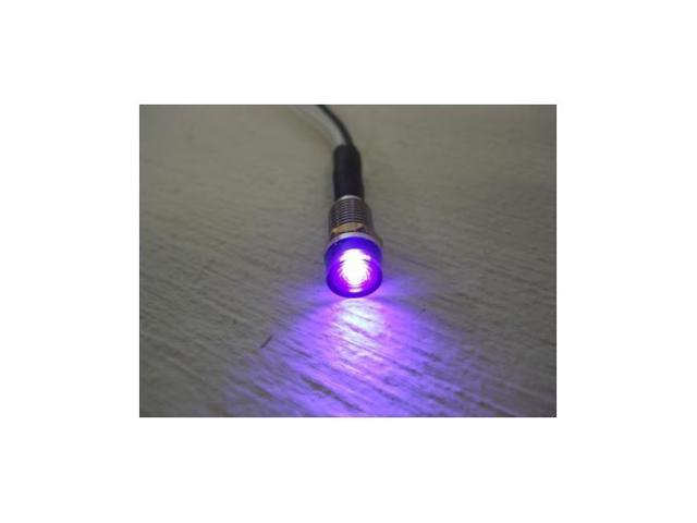 (2) Mini Purple LED Dash Accent Indicator Lights / 1/4
