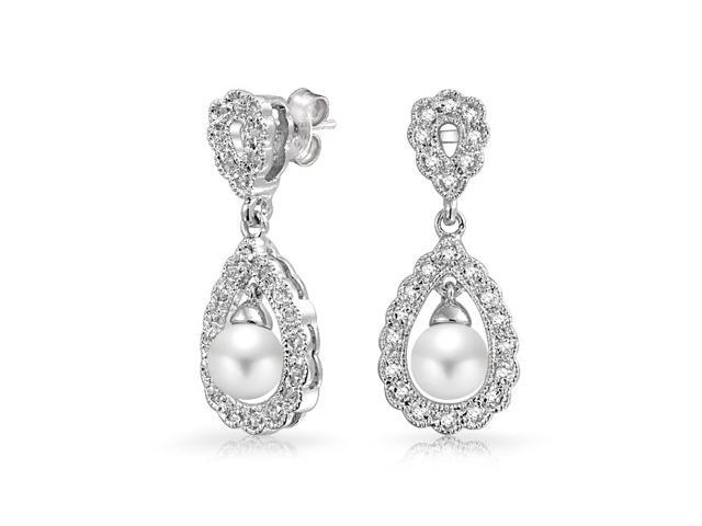 bling jewelry simulated pearl cz bridal dangle earrings rhodium plated