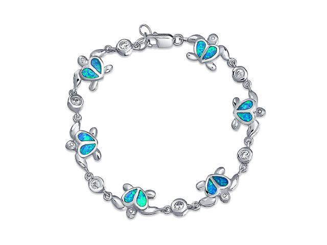 Synthetic Blue Opal Heart Nautical Sea Turtle Bracelet 925 Silver ... 9c49fc6ef1e2