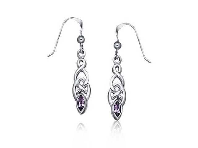 bling jewelry amethyst celtic knotwork drop earrings 925 silver