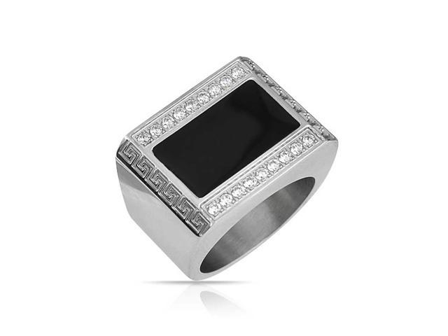 Bling Jewelry Simulated Onyx Enamel Greek Key CZ Stainless Steel Mens Ring  - Newegg com