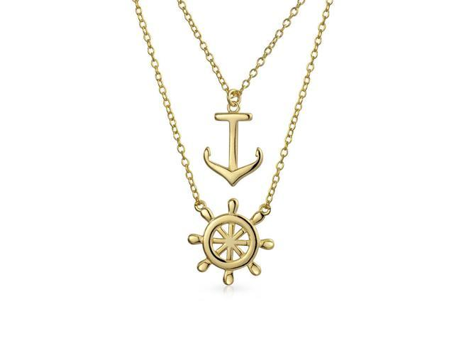 Sterling Silver Rose-Gold Tone 16 1.5 Extension CZ Ships Wheel Necklace