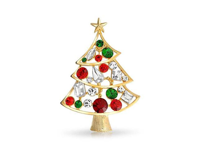 Bling Jewelry Christmas Gifts Christmas Tree Pin Green Crystal Gold Plated FAJ DBH00828