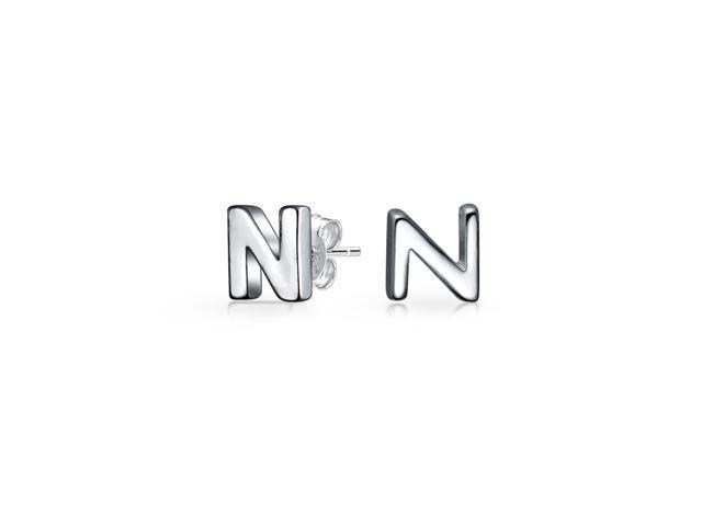 .925 Sterling Silver Block Letter Initial Earrings