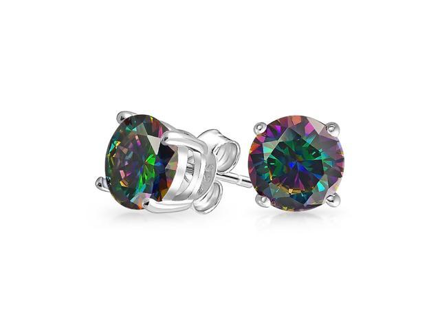 043e8921bff3b 4CT Round Black Mystic Rainbow Cubic Zirconia Solitaire CZ Stud Earrings  For Women 925 Sterling Silver 10MM - Newegg.com