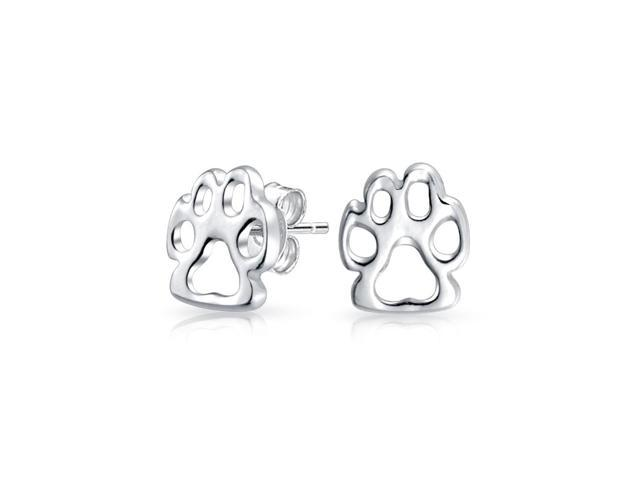 Tiny Bff Dog Cat Puppy Kitten Paw Print Animal Lover Pet Paw Stud Earrings For Women For Teen 925 Sterling Silver