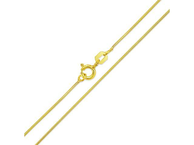 0.8mm Thin Snake Link Italy Chain Necklace .925 Sterling Silver 14k Yellow Gold