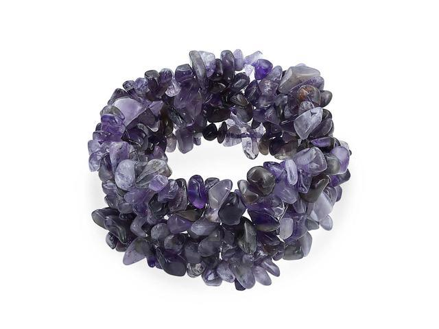 Purple Amethyst Crystal Chip Stone Wide Chunky Cluster Multi Strand Stretch  Bracelet For Women - Newegg com