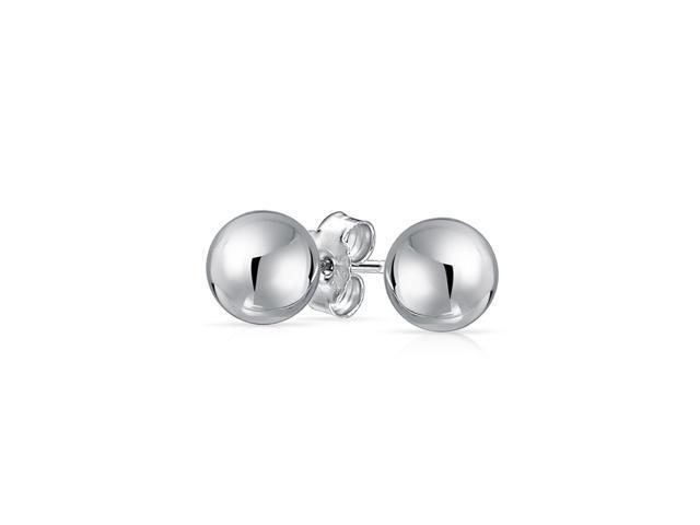 925 Sterling Silver Polished 8mm Ball Dangle Earrings
