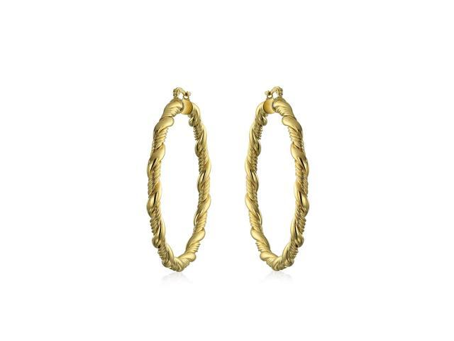 ea580e3fd0c7e Twisted Rope Braid Cable Light Weight Hollow Large Big Hoop Earrings For  Women For Teen 18K Gold Plated Brass 2.25 Inch - Newegg.com