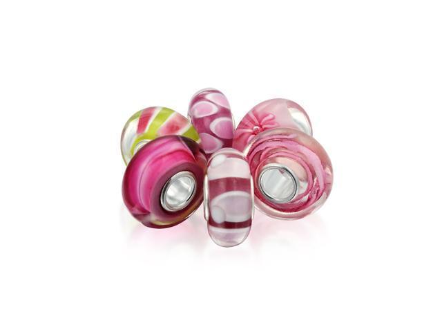 Sterling Silver Pink Swirl Flower Murano Glass Bead for European Charm Bracelet