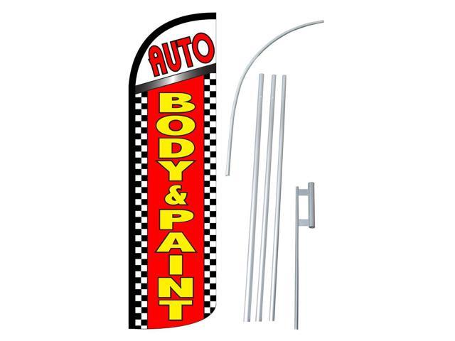 Auto Body /& Paint Brake Service Welcome King Swooper Feather Flag Sign Kit with Pole and Ground Spike Pack of 3