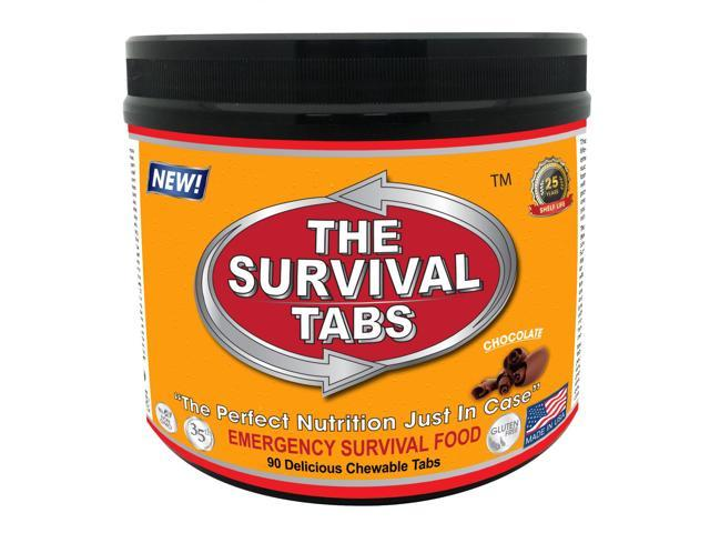 Survival Tabs 7-day food Supply - Survival Bugout Emergency Food Replacement - Chocolate Flavor (90 tabs)