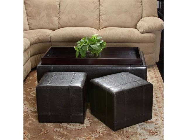 Remarkable Christopher Knight Andre 3 Piece Leather Ottoman Set Espresso Beatyapartments Chair Design Images Beatyapartmentscom